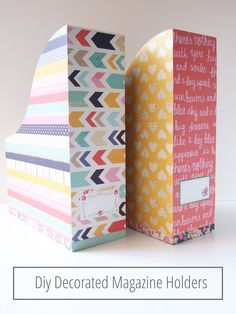 Diy Decorated Magazine Holders Office Organization Tips, Do It Yourself Organization, Office Hacks, Cute Diy Projects, Craft Projects, Projects To Try, Craft Desk, Diy Desk, Craft Shelves