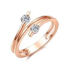Cubic Zirconia Ring in 14K Rose Gold Plated over Sterling Silver