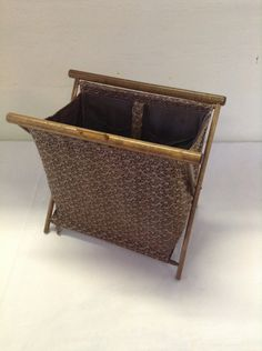 No. 3  Vintage Folding Sewing / Knitting / Crocheting Fabric Basket Tote with Wood Frame and bakelite closure Craft Yarn Portable by ReEmporium on Etsy