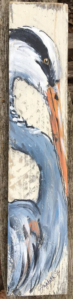 coastal shore birds on recycled pallet wood. perfect for a small space that needs a touch of colorful art! Sizes vary slightly but average around 3 x 15