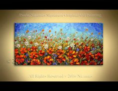 """48"""" Wild Flowers Field Original Abstract Modern Contemporary Floral art on canvas by Paula Nizamas Thick Knife Paint Wall Decor"""