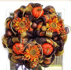 Mesh Ribbon Wreaths | Fall Mesh Wreath Pumpkins Flowers by HolidaysAreSpecial on Etsy
