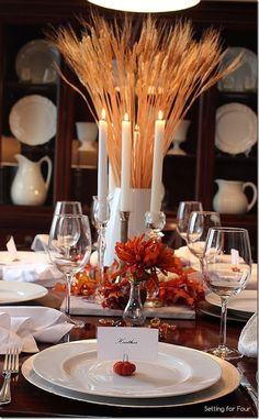 Thanksgiving decor ideas:  tablescape with wheat centerpiece.