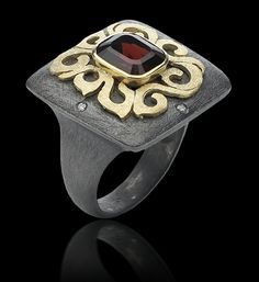 Ring | Alishan Jewelry Designs.  18k gold, patina sterling silver, diamonds and garnet.