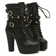 Fashion Buckles and Rivets Design Women's Chunky Heel Short Boots