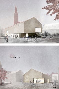 """Visualisierung Neubau Gemeindezentrum Design for the new building of a community house with after-school care, youth center and community archive was created as part of the architecture competition """"A Collage Architecture, Define Architecture, Industrial Architecture, Cultural Architecture, Architecture Visualization, Urban Architecture, Architecture Portfolio, Futuristic Architecture, Ancient Architecture"""