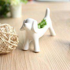 $5.58 Mini Ceramic Dog Aerobic Potted Plants Home Office Bonsai