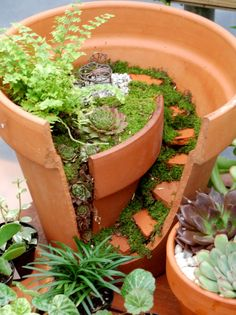 A super cute DIY from Natureworks for upcycling a broken terracotta pot into a fairy garden!