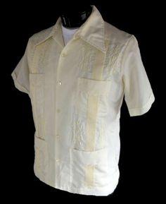 Vintage 60s Mens Guayabera Shirt - 1960s Pintucked Mexican Wedding Shirt - Yellow Cotton - Loop Collar - Size L Large