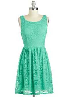 Only Thyme Will Tell Dress - Mid-length, Mint, Solid, Lace, Party, A-line, Sleeveless, Boat, Pastel