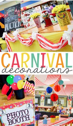 School Carnival with Oriental Trading - Mrs. Jones Creation Station School Carnival Decorations with Oriental Trading – Mrs. Fall Carnival Games, Circus Theme Classroom, School Carnival Games, Carnival Signs, Carnival Decorations, Spring Carnival, Carnival Themed Party, Carnival Birthday Parties, Carnival Themes