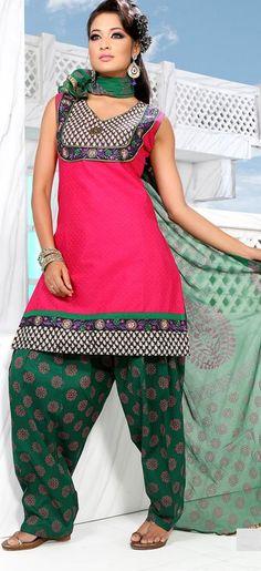 Pink Sleeveless Cotton Short Punjabi Salwar Kameez 18701