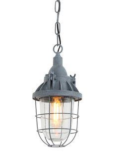 Dit grijze kooilampje lijkt op een ouderwetse scheepslamp. De vintage uitstraling van de Ebbe past binnen een vintage of industrieel interieur.
