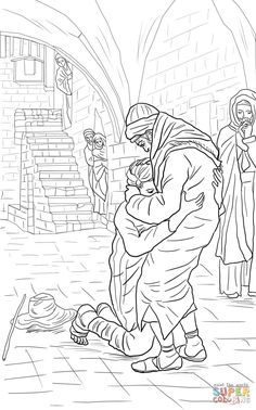 The Prodigal Son with the pigs (Luke 15) | Coloring: Bible: NT ...