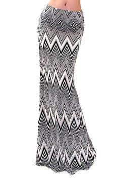 Chevron Striped Black Khaki High Waist Maxi Skirt U.S.A.