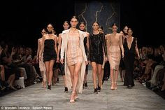 Finale fun: She led out the finale, in which the other models also wore nude and black...