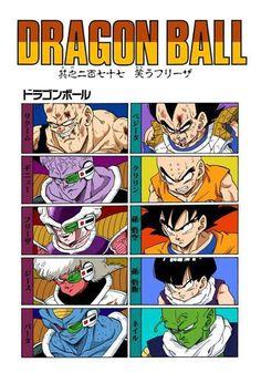 Recoome, Vegeta, Captain Ginyu, Krillin, Frieza, Goku, Jeice, Gohan, Burter, and Nail