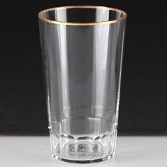 1 Vintage Becher Glas Bierglas Antik Goldrand dünnes Glas Facettenschliff W1C