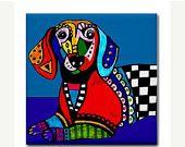SALE ENDING - pop art dog - MODERN Art Prints - Tibetan Spaniel Dog Art Print Poster of Modern Abstract Contemporary Painting. $20.40, via Etsy.