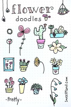 How to Draw Flower Doodles — Sweet PlanIt Simple Flower Drawing, Easy Flower Drawings, Flower Drawing Tutorials, Small Drawings, Doodle Drawings, Easy Drawings, Drawing Flowers, Small Doodle, Bujo Doodles