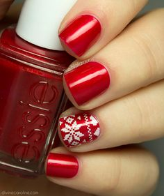 The holidays wouldn't be complete without a bit of red polish. Learn how to create this sweater-inspired design here. #nailpolish #nailart