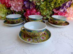 4 Jiangxi Jingdezhen Min Ci Chinese Porcelain Cups & Saucers