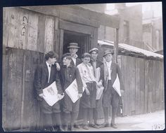 St. Louis Star-Times newsboys on street. St. Louis, MO. Photograph by  Lewis Hine for the National Child Labor Committee, 1910. Missouri  History Museum Photographs and Prints Collections. Hine Collection.  N01805.