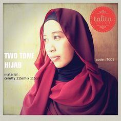Two Tone : Maroon & Red - square #hijab