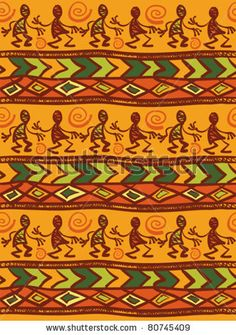 Orange ethnic pattern with funny men and ornament