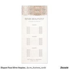 Elegant Faux Silver Sequins Salon Price List Menu Personalized Rack Card - Great customizable rackcard for anyone in the beauty or fashion industry -   freelance makeup artists, cosmetologists, hairstylists estheticians, , beauty salons, spas, nail salons, fashion stylists and more.