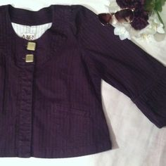 Purple AMX Jacket Purple jacket with puffy sleeves . Size large cotton spandex material . 2 gold toned buttons and 3 hidden buttons. 2 pockets on each side at bottom. Super cute jacket . It's striped with black . Smoke free stain free AMX Jackets & Coats