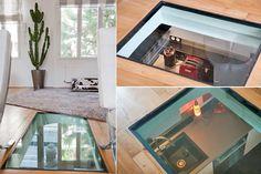 #sol en verre, jeu de transparences Glass Floor, Corner Desk, My House, Sweet Home, New Homes, Layout, House Design, Patio, Flooring
