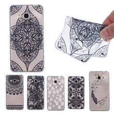 Vintage Black Lace Mandala Case for Samsung Galaxy J3 Pro Flower Cover Anti Slide Fundas Soft TPU Transparent Phone Cases   D89
