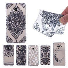 Vintage Black Lace Mandala Case for Samsung Galaxy J3 Pro Flower Cover Anti Slide Fundas Soft TPU Transparent Phone Cases   D89