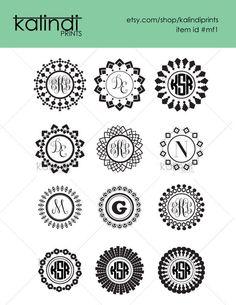 Circle Monogram frame  SVG files.  12 SVG  digital graphics, instant download. Printable. Id#mf1 by KalindiPrints on Etsy