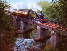 Railway Paintings by John Austin Steam Locomotive, Diesel Locomotive, Uk Rail, Train Illustration, Steam Art, Milwaukee Road, Steam Railway, Bonde, Train Art