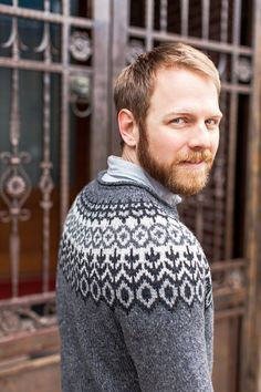 Knitting ~ BT Winter 13 ~ Grettir Crew neck pattern by Jared Flood ~ via Ravelry Fair Isle Knitting Patterns, Knitting Designs, Knit Patterns, Knitting Ideas, Arm Knitting, Knitting Charts, Brooklyn Tweed, Icelandic Sweaters, Knitted Slippers