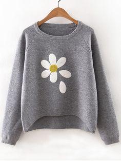 Flower Print Raglan Sleeve Dip Hem Sweater -SheIn(Sheinside) Blusa Bordada 6e0676087ab