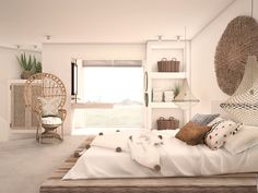 Harmony and design Room Color Schemes, Room Colors, Menorca, Spanish Bedroom, Greece House, Provence, Bali Furniture, Platform Bed Designs, Rural House