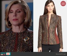 Diane's tweed jacket with brown leather trim on The Good Wife. Outfit Details: http://wornontv.net/41008/ #TheGoodWife