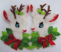 1970s Vintage Christmas Decoration Sequined White Deer Handmade. $9.50, via Etsy.