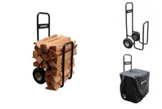 Log Carrier Caddy Outdoor Firewood Storage Rack Cover Large Pneumatic Tires
