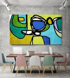 Vibrant Colorful Abstract-0-18. Mid-Century Modern Green Blue Canvas Art Print, Mid Century Modern Canvas Art Print up to 72 by Irena Orlov Wall Art Decor for Home, Office or Hotel MIDCENTURY ABSTRACT ART With retro colors and free formed geometric shapes, all of this pieces in my