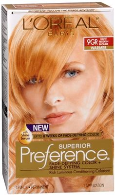 L'Oreal Superior Preference - Light Reddish Blonde (Warmer) 1 Each: For the most up to date information, we recommend you visit the manufacturer website for the best product details, including ingredients, hazards, directions and warnings. Blonde Ends, Dyed Blonde Hair, Red To Blonde, Golden Blonde, Feria Hair Color, Red Hair Color, Hair Colors, Strawberry Blonde Hair Dye, Non Permanent Hair Color
