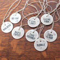 Personalised Porcelain round label, hemp string, kitchen tag on Etsy, $12.99 AUD