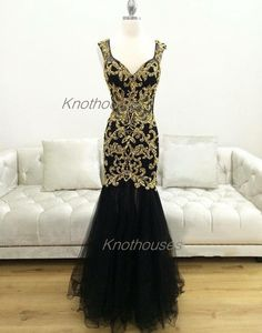 Gold Sequin Beaded Luxury beading Black Mermaid Tulle Prom dresses  This dress can be custom made, both size and color can be custom made. Custom size and color made will charge for no extra. If you need a custom dress, please send us messages for your detail requirements.  For custom size, w...