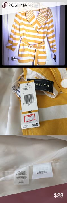 Beautiful bright sunny trench Jones New York yellow and white trench. Has stretch. Double breasted and belted. Really beautiful jacket. I bought this but lost weight before the weather changed. Hard to part with. Brand new with tag.  (Loc. 4) Jones New York Jackets & Coats Trench Coats