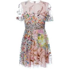 Valentino floral embroidered dress Stefania Mode ❤ liked on Polyvore featuring dresses, brown dress, floral embroidered dress and embroidered flower dress
