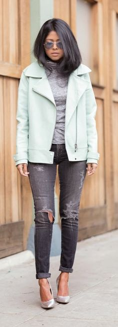 Mint Leather Jacket , Ripped Grey Jeans and Silver Pumpsby Walk In Wonderland