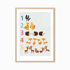 123 Sun Cloud Rainbow Drops Poster  Modern by Sealandfriends, $4.00
